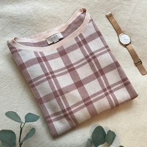 Rosy Pink Plaid Sweater
